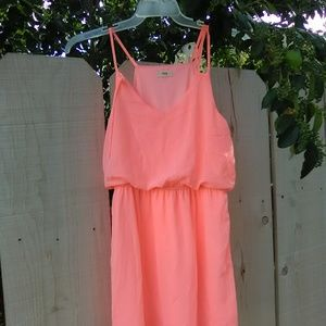 Neon coral chiffon like mini summer dress